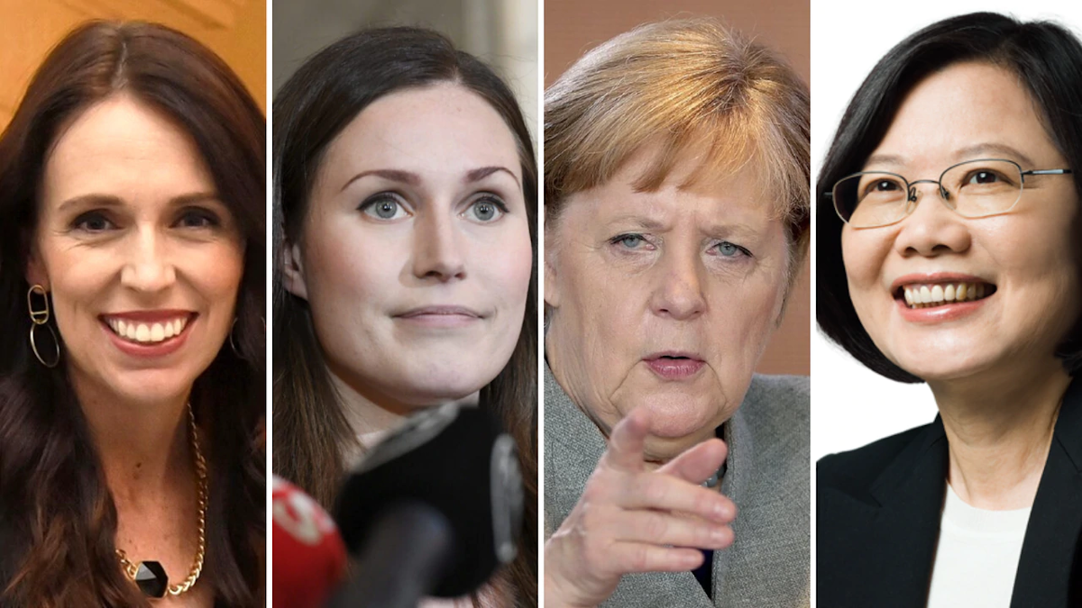 From left: New Zealand Prime Minister Jacinda Ardern, Finland Prime Minister Sanna Marin, German Chancellor Angela Merkel and Republic of China President Tsai Ing-Wen
